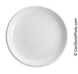 piastra, bianco, vuoto, isolato, fondo
