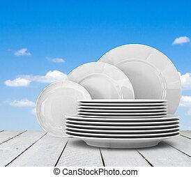 piastra, bianco, vuoto, pulito, tavola