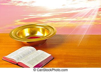 piastra, bibbia, offerta, luminoso, fondo, tavola