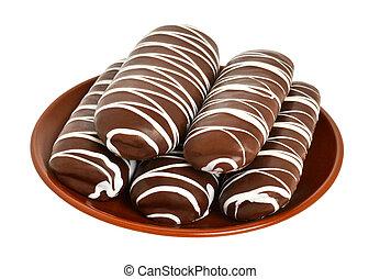 piastra, biscotti cioccolato, marrone
