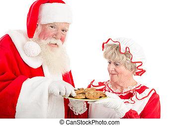 piastra, biscotti, claus, santa, signora