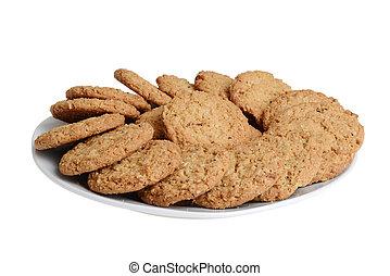piastra, biscotti, isolato, farina avena