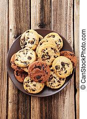 piastra, biscotti, marrone, legno, scheggia, cioccolato, fondo