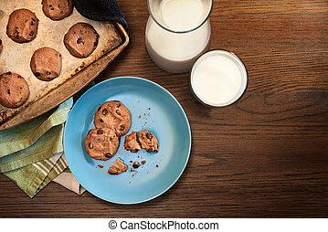 piastra, biscotti, riscaldare, foglio, vendemmia, scheggia, cioccolato, vetro, legno, alto, forno, biscotto, tavola, freddo, latte, vista