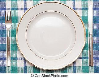 piastra blu, bianco, forchetta, tovaglia, controllato, coltello