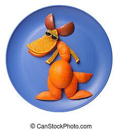 piastra blu, canguro, fatto, arancia