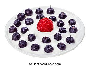 piastra blu, crema, mirtillo, isolato, aspro, piccolo, bianco, lampone, rotondo, rosso