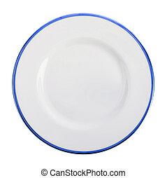 piastra blu, isolato, scuro, bianco, vuoto