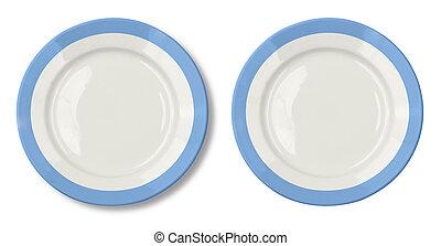piastra blu, ritaglio, isolato, included, percorso, bianco, bordo, rotondo