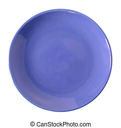 piastra blu, ritaglio, isolato, percorso, bianco