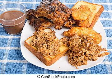 piastra, bread, salsa, barbecue