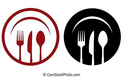 piastra, caffè, forchetta, icone, cucchiaio, coltello