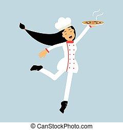 piastra, carattere, illustrazione, uniforme, chef, vettore, femmina, cuoco, pizza, saltare