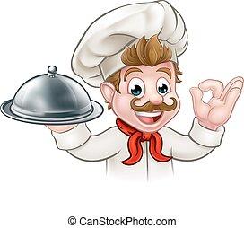 piastra, cartone animato, chef, presa a terra, piatto da portata, o