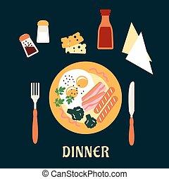 piastra, cena, saporito, cotto