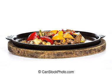 piastra, cervo, caldo, ferro, servito, fritto