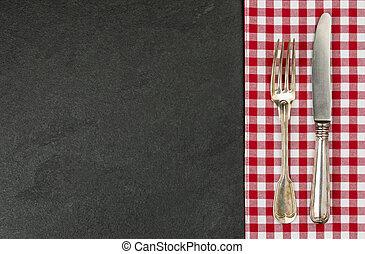 piastra, checkered, ardesia, argenteria, tovaglia, rosso