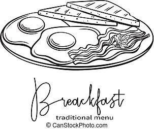 piastra, colazione, uova, fritto