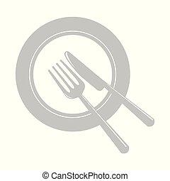 piastra, coltelleria, grigio, icona