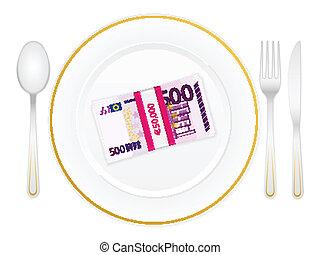 piastra, coltelleria, pacco, cinquecento euro