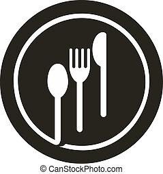 piastra, con, forchetta, coltello, e, cucchiaio, cima, esso