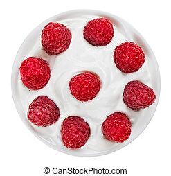 piastra, crema, maturo, aspro, isolato, frutta, piccolo, bianco, lampone, rotondo, rosso