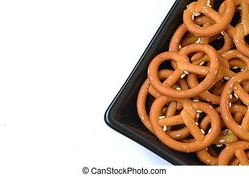 piastra, crunchy, isolato, pretzel