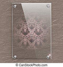 piastra, cuoio, pattern., vetro, vittoriano, fondo, traslucido