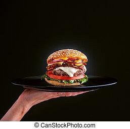 piastra, delizioso, hamburger, nero, casalingo, fresco