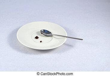 piastra, dessert, cupcake, briciole, piccolo, bianco, uggia