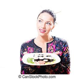 piastra, donna, brunetta, fondo, sushi, isolato, pieno, carino, splendido, ritratto, bianco, presa a terra