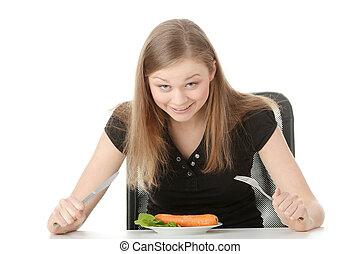 piastra, donna mangia, giovane, carota