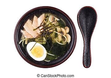 piastra, eggs., frutti mare, isolato, funghi, minestra, soup., fondo., bianco, asiatico