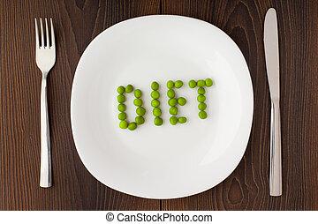 piastra, fatto, parola, piselli, dieta