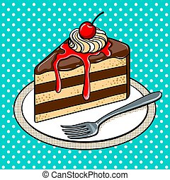 piastra, fetta, arte, illustrazione, vettore, pop, torta