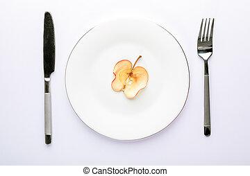 piastra, fetta, mela, coltelleria, uno, fondo., secco, bianco