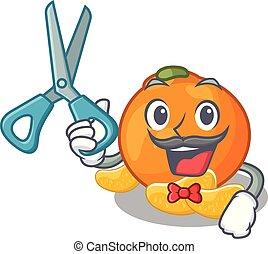 piastra, fette, carattere, mandarino, frutta, barbiere