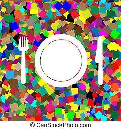 piastra, forchetta, colorito, fondo, knife., bianco, icona, vector.