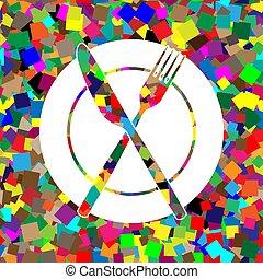 piastra, forchetta, colorito, segno., vector., backg, bianco, icona coltello
