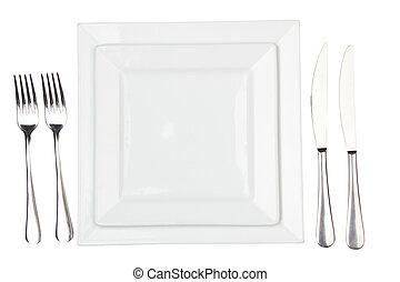 piastra, fork., &, high-gloss, setting posto, coltello