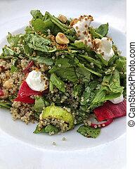 piastra, fresco, insalata, quinoa