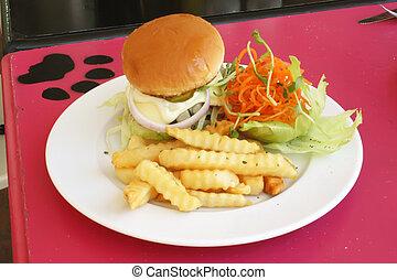 piastra, frigge, hamburger