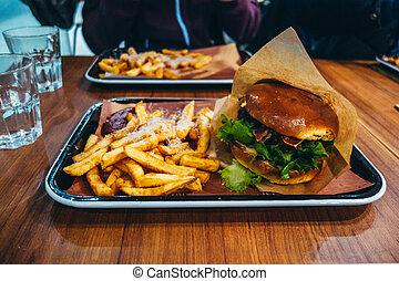 piastra, frigge, hamburger, tavola