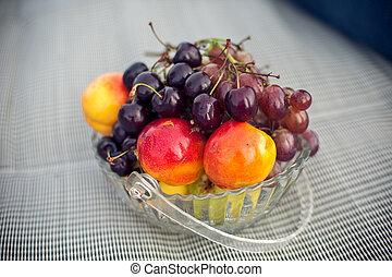 piastra, frutta, picnic