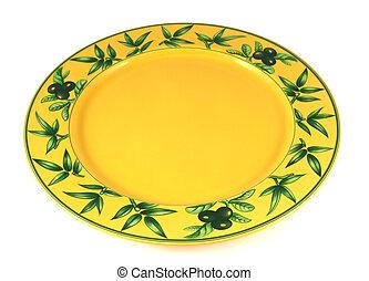 piastra, giallo, vuoto