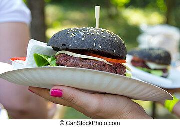 piastra, grande, plastica, hamburger, nero, fuori, bianco