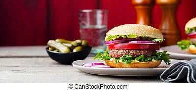 piastra., hamburger, legno, space., fondo., copia