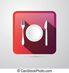 piastra, icon., mangiare, forchetta, coltello