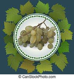 piastra., illustrazione, vettore, uva, bianco, mazzo