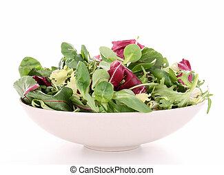 piastra, isolato, insalata